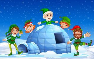 Elf Natal em fundo de inverno vetor