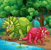 Dinossauros na floresta vetor
