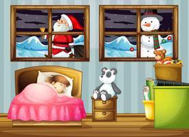 Menina dormindo no quarto vetor