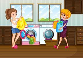 Lavanderia de mulher no quarto vetor