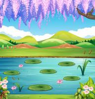 Cena, com, lago, e, colinas vetor
