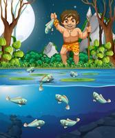Um, homem das cavernas, pegando peixe vetor