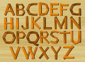 Alfabeto caracteres de A a Z no padrão de madeira vetor