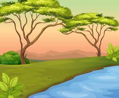 Cena do rio com árvores no campo vetor