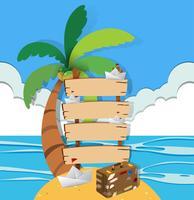 Sinais de madeira na ilha