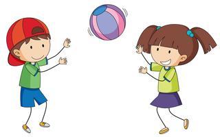 Doodle crianças jogando bola vetor