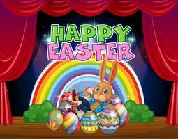 Modelo de cartão de feliz Páscoa com coelho e ovos
