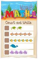 Planilha matemática de números de contagem vetor