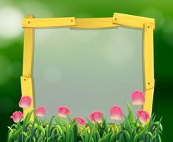 Moldura de madeira com flores tulipa rosa vetor