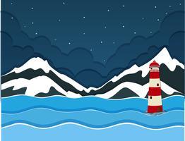 Uma montanha de neve sobre vista para o mar vetor