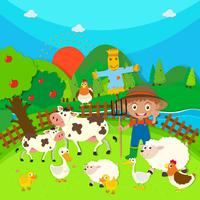 Agricultor e animais de fazenda vetor