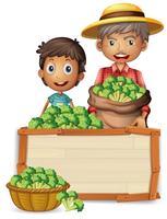 Agricultor segurando brócolis no banner vetor