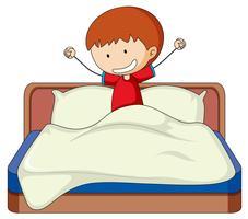 Doodle menino na cama vetor