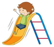 Doodle menino jogando slide vetor