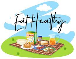 Conjunto de café da manhã e palavra comer saudável vetor