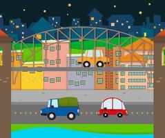 Carros dirigindo na cidade vetor
