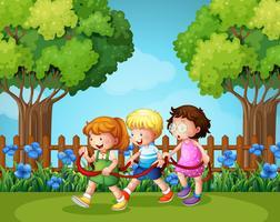 Três crianças, tocando, em, a, jardim vetor