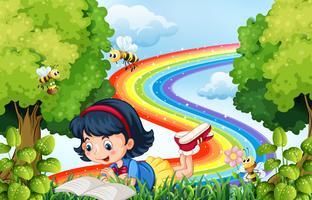 Menina lendo livro no parque vetor
