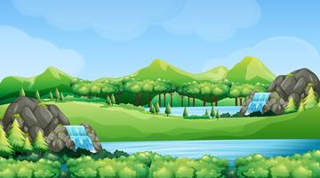 Cena da natureza com cachoeiras e lago vetor