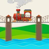 Trem, montando, sobre, a, ponte vetor