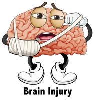 Personagem de lesão cerebral do homem vetor