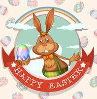Cartaz de Páscoa feliz com coelho e ovo vetor