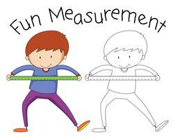 Doodle garoto segurando a ferramenta de medição vetor