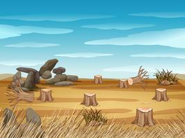 Campo, com, toco, árvores