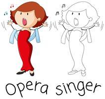Personagem de cantor de ópera Doodle vetor