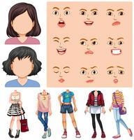 Meninas, com, diferente, rosto, e, menino