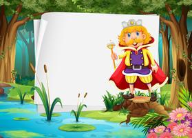 Design de papel com rei na selva vetor