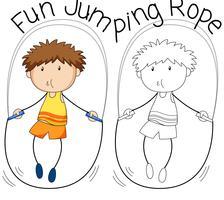Doodle garoto pulando corda vetor