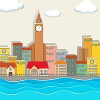 Vista da cidade com a torre do relógio e edifícios vetor