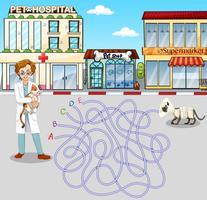 Jogo de labirinto com veterinário e animal de estimação vetor