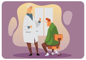 Doutor sênior e seu vetor de paciente