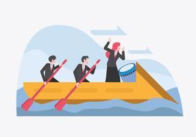 Líder carregando a equipe para atingir vetor de metas corporativas
