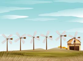 Cena de fazenda com moinho de vento e celeiro vetor