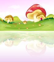 Cogumelos perto do lago vetor
