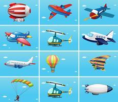 Diferentes tipos de aeronaves vetor