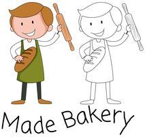 Personagem de homem Baker em fundo branco vetor