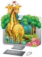 Tela computador, com, dois, girafa, abraçando vetor