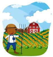 Fazendeiro trabalhando na terra vetor