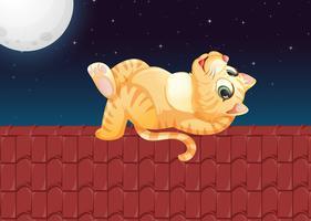 Um gato preguiçoso no telhado vetor