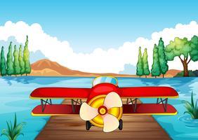 avião de pouso na natureza vetor