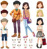 Pessoas, com, expressão facial vetor