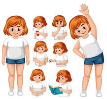 Menina, com, diabetes, exercício vetor