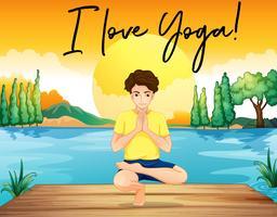 Homem, fazendo, ioga, por, a, lagoa, com, frase, adoro, ioga vetor
