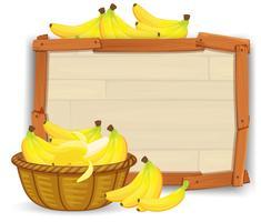 Banana na cesta na placa de madeira vetor