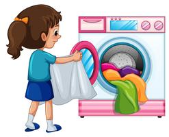 Menina jovem, fazendo lavanderia vetor