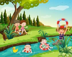 Crianças, natação, em, a, rio vetor